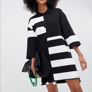 Monki oversized rugby dress in black and white